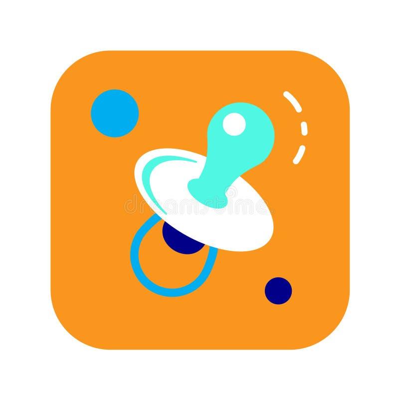 Maniquí plano del icono del color Concepto de soother del bebé ilustración del vector