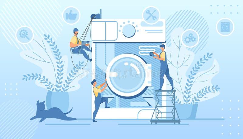 Manitas del grupo que fijan la lavadora quebrada enorme ilustración del vector