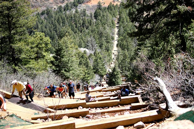 Looking down the Incline hiking trail.  Manitou Springs, Colorado. royalty free stock image