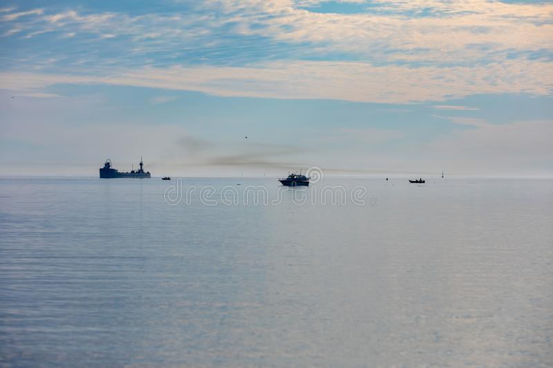 Manitowoc,WI, USA  August 31, 2019 : the ship sailing from Lake Michigan to the mouth of the Manitowoc River. Manitowoc,WI, USA  August 31, 2019 :Boat and ship royalty free stock photography