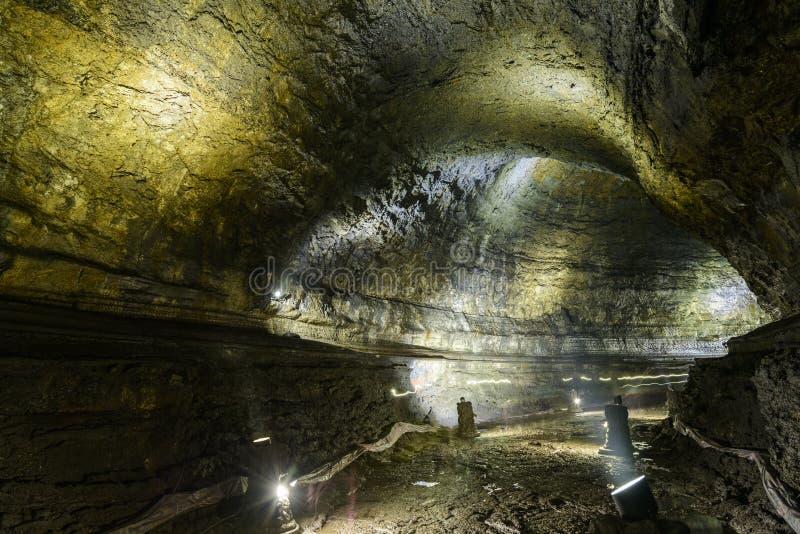 Manjanggul cave in jeju island stock image