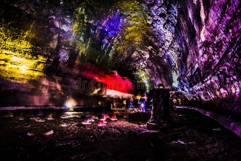 Manjanggul Lava Tube - Jeju ö arkivfoto