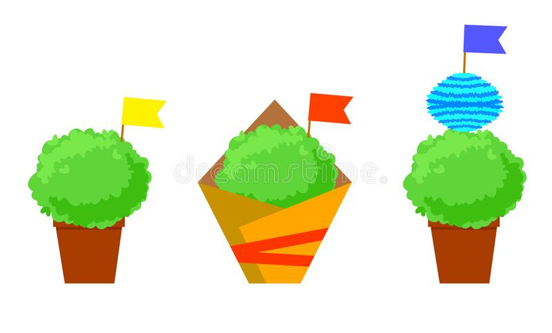 Manjerico isolated plants with flags. Santos Populares festival symbol.  vector illustration