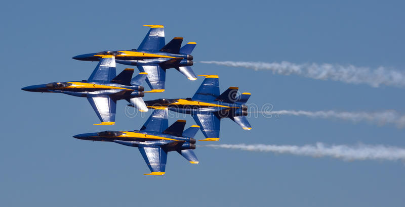 Mankato, Mn- June 9 US Navy Blue Angels in F-18 Air Show stock photos