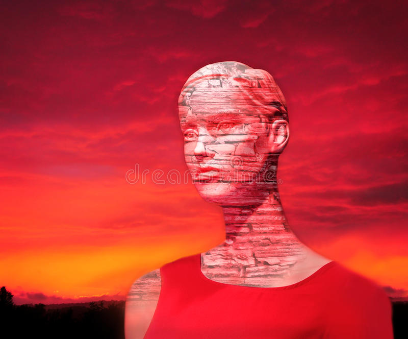 Mankind future decline. Decadent mysterious lady as a symbol for downfall of civilization stock photos