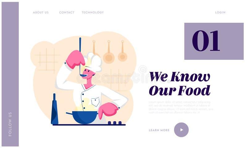 Mankock i vit enhetlig smaka läcker soppa med sleven på kök Den yrkesmässiga spisen förbereder mål, restaurangpersonal vektor illustrationer
