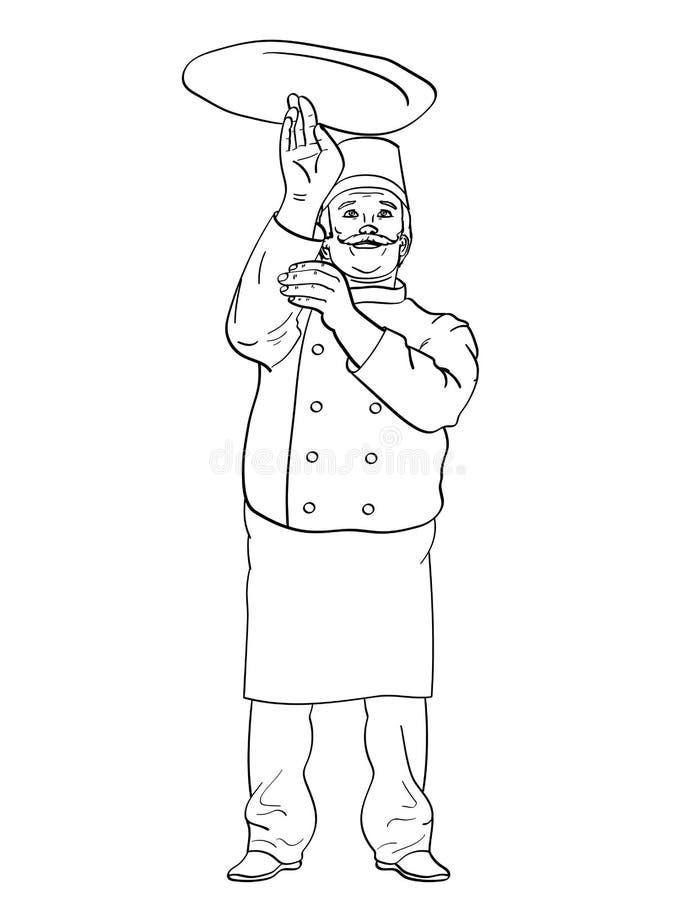 Mankockpizza Kasta pizzadeg för kock Humorbokstilefterföljd retro stiltappning Objektfärgläggningbok stock illustrationer