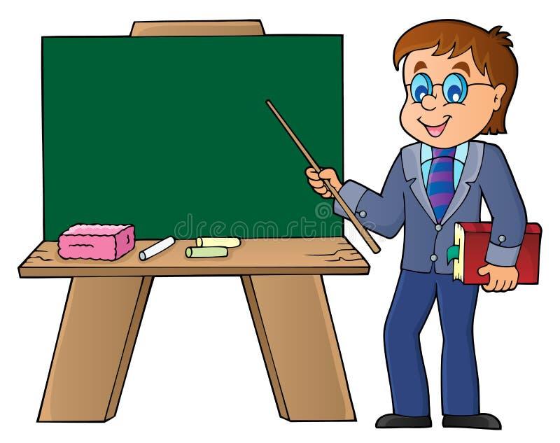 Manlärareanseende vid schoolboard vektor illustrationer