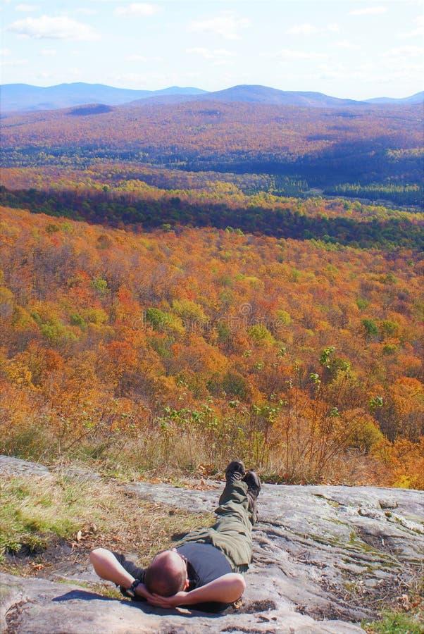 Manlögner i solsken som ser nedgången, färgar i träd arkivfoton