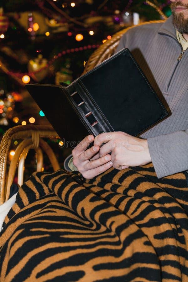 Manl?sebok i f?t?lj framme av julgranen royaltyfri foto