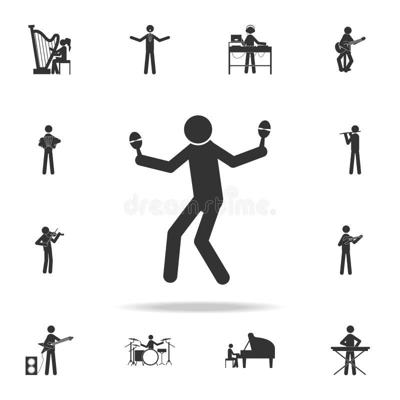 Manlekar på maracassymbol Detaljerad uppsättning av musiksymboler Högvärdig kvalitets- grafisk design En av samlingssymbolerna fö stock illustrationer