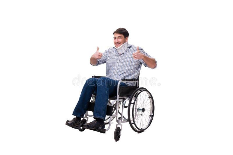 Manlidandet från skada på rullstolen royaltyfri bild