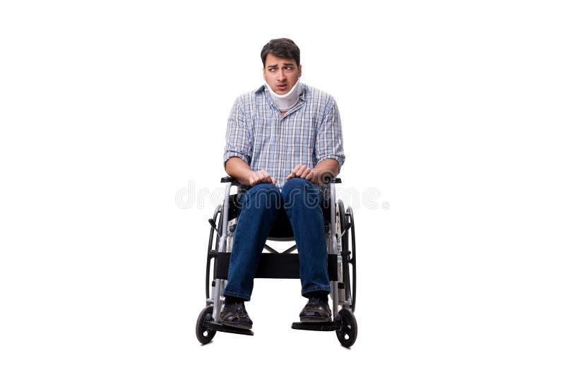 Manlidandet från skada på rullstolen arkivbilder