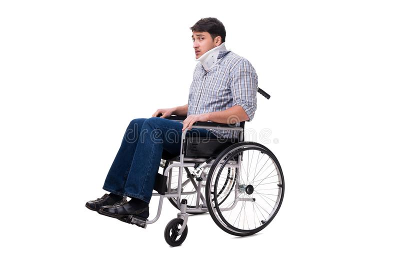 Manlidandet från skada på rullstolen royaltyfria foton