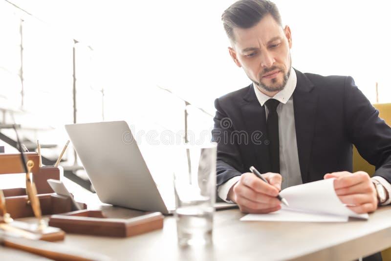 Manlig advokat i regeringsställning royaltyfria foton