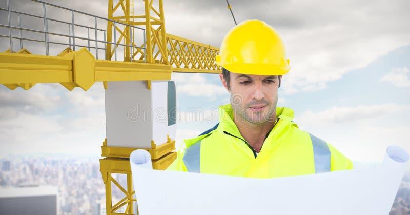 Manlig arkitekt som ser ritningen, medan stå vid kranen mot himmel vektor illustrationer