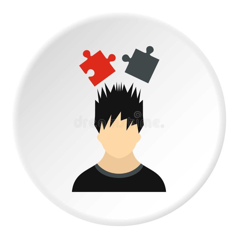 Manlig avatar- och pusselsymbol, lägenhetstil vektor illustrationer