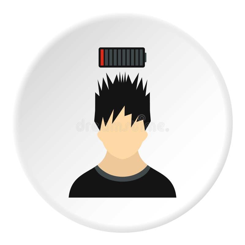 Manlig avatar- och urladdningsbatterisymbol royaltyfri illustrationer