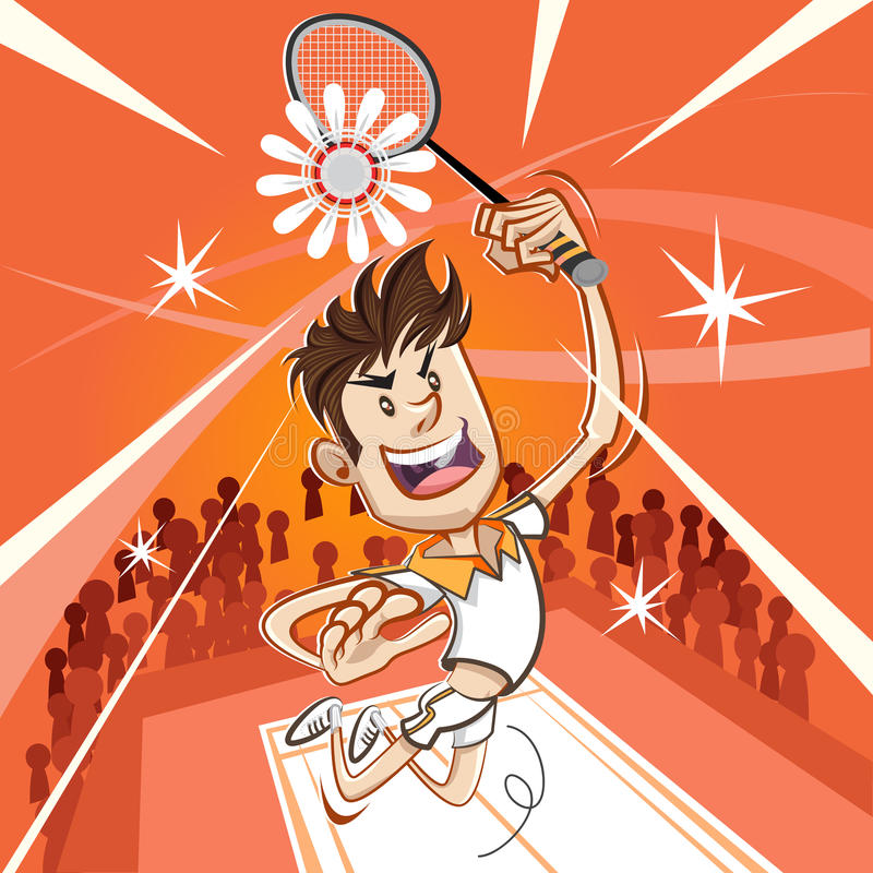 Manlig badmintonspelare stock illustrationer