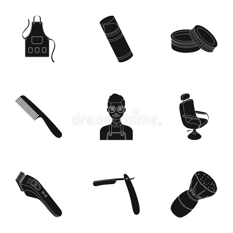Manlig barberare, symbol, clipper och annan utrustning för frisering Fastställda samlingssymboler för frisersalong i svart stilve vektor illustrationer