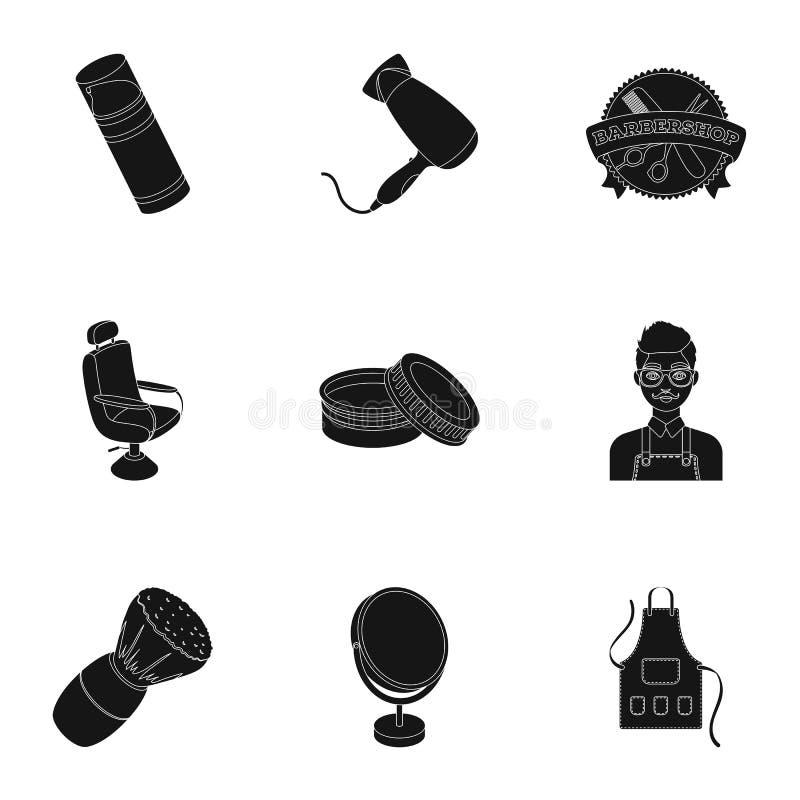 Manlig barberare, symbol, clipper och annan utrustning för frisering Fastställda samlingssymboler för frisersalong i svart stilve stock illustrationer