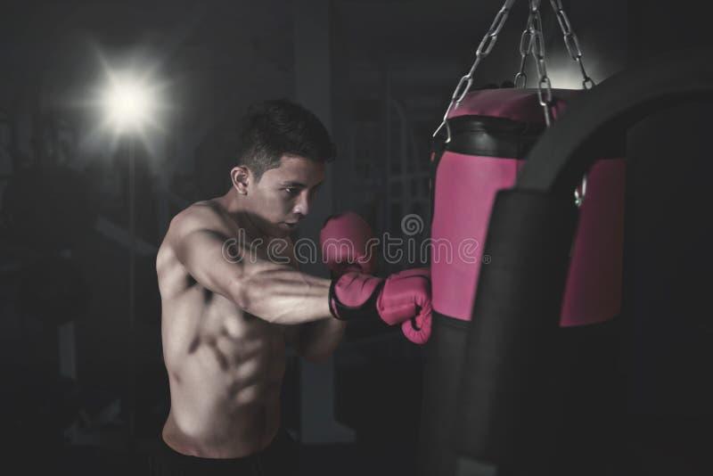 Manlig boxare som slår en stansa påse på idrottshallen fotografering för bildbyråer