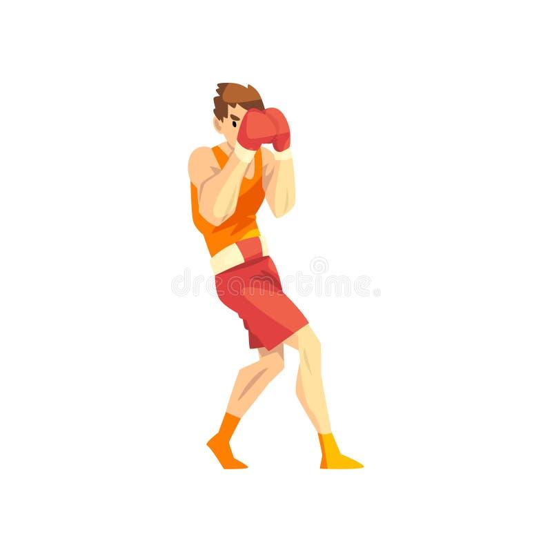 Manlig boxareteckenutbildning med röda boxninghandskar, aktiv illustration för sportlivsstilvektor på en vit bakgrund vektor illustrationer