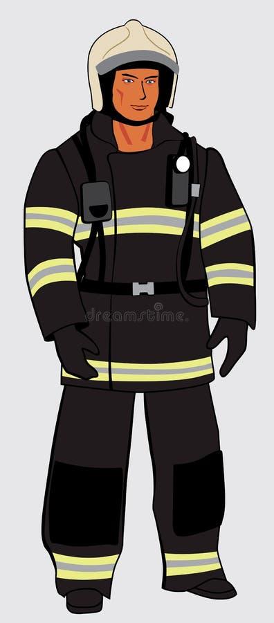 Manlig brandman i hjälm Hellångt diagram stock illustrationer