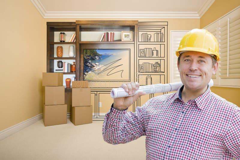 Manlig byggnadsarbetareIn Room With teckning av underhållning U arkivfoton