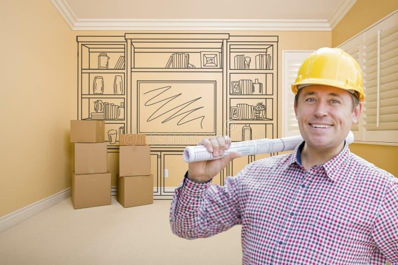 Manlig byggnadsarbetareIn Room With teckning av underhållning U arkivbilder