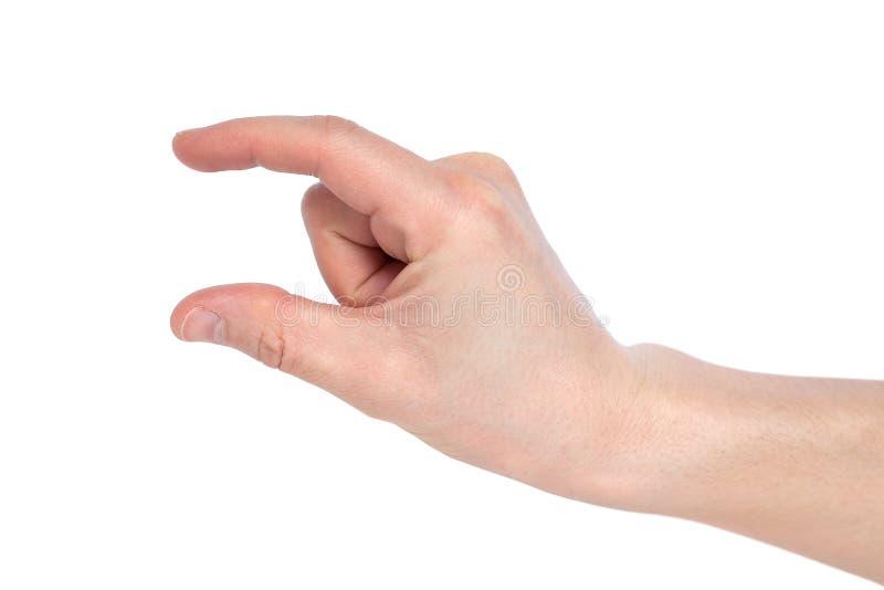 Manlig caucasian hand som gör en gest ett litet belopp eller smal format som isoleras på vit bakgrund arkivbilder
