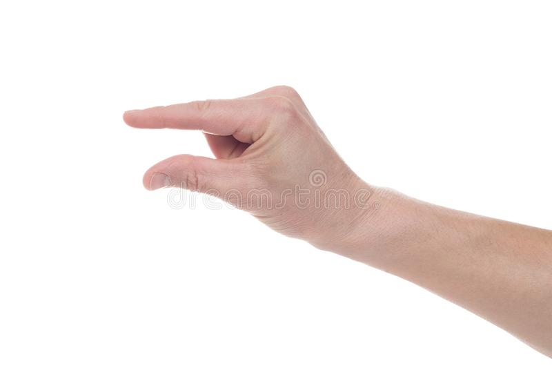Manlig caucasian hand som g?r en gest ett litet belopp eller smal format som isoleras p? vit bakgrund royaltyfri foto