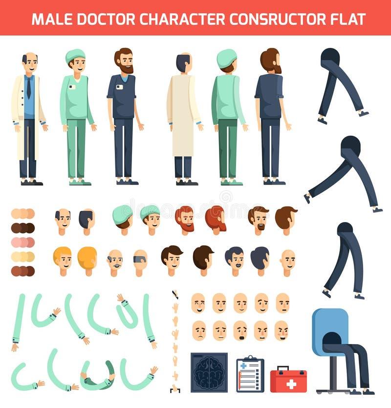 Manlig doktor Character Constructor Flat vektor illustrationer