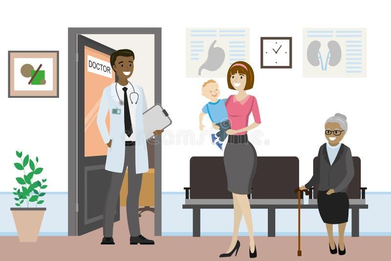 Manlig doktor för afrikansk amerikan framme av kontoret royaltyfri illustrationer