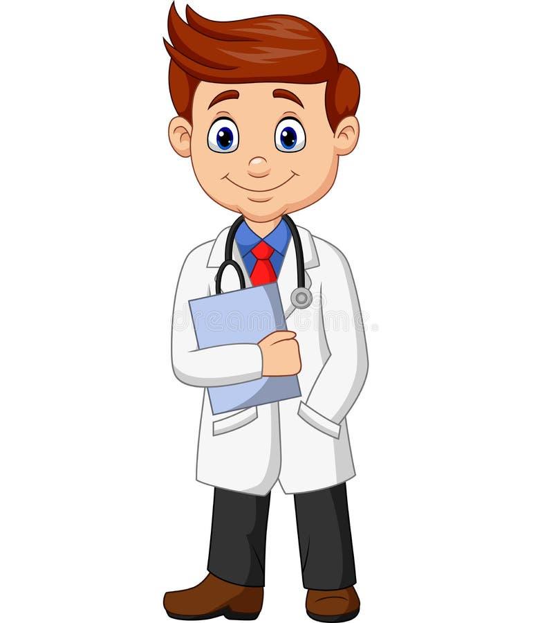 Manlig doktor för tecknad film som rymmer en skrivplatta stock illustrationer