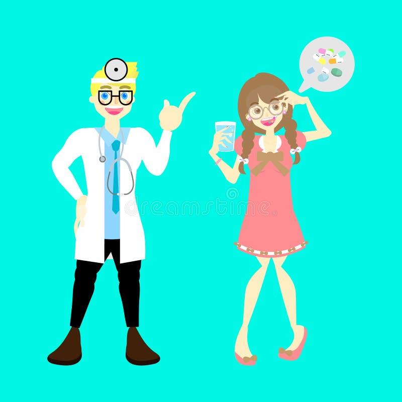 Manlig doktor med läkarundersökning för hälsovård för piller för medicin för vitamin för tagande för kvinna för tecken för sjukdo vektor illustrationer