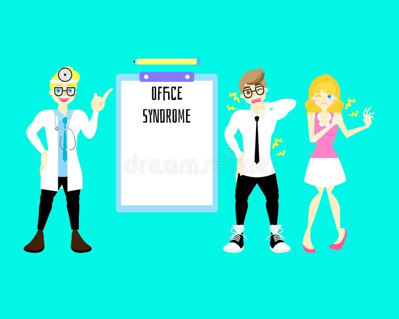 manlig doktor med mannen och kvinnan som har tecknet för kontorssyndromryggvärk, infographic begrepp med den tomma mallen royaltyfri illustrationer