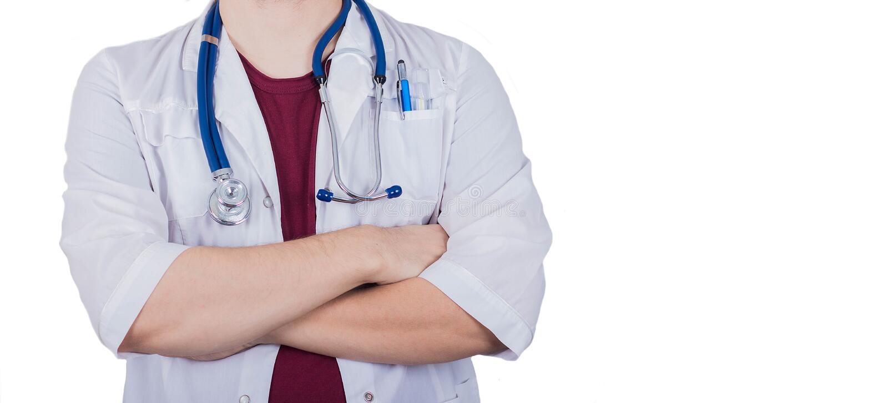 Manlig doktor som isoleras på vit bakgrund royaltyfria foton