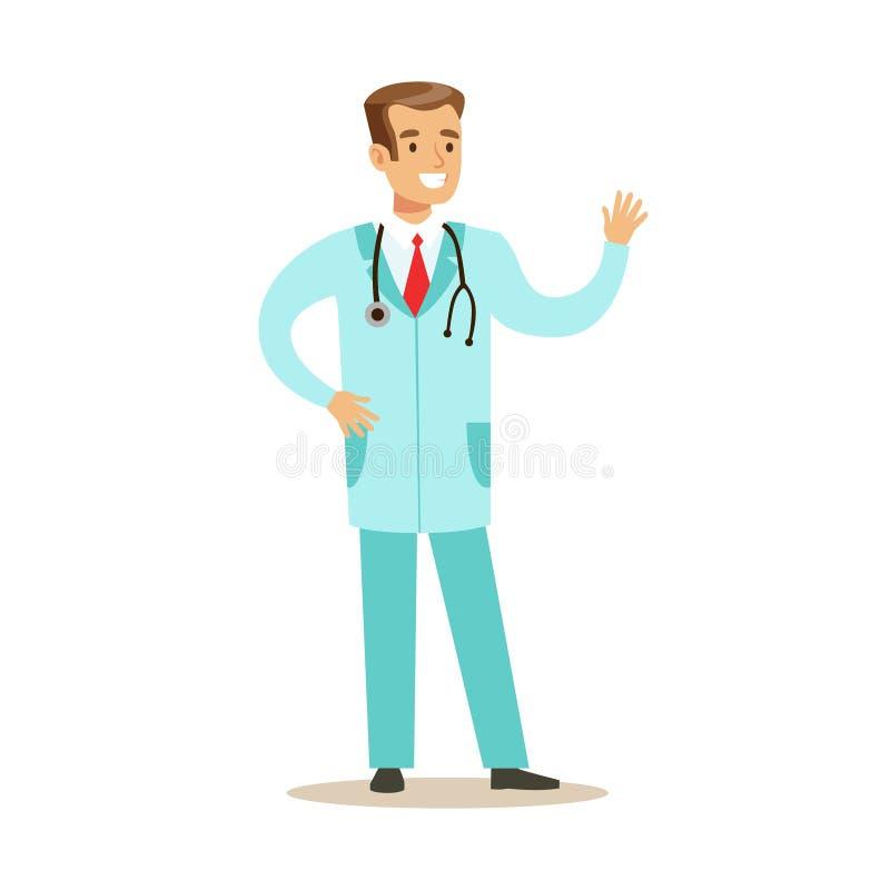 Manlig doktor Wearing Medical Blue skurar enhetligt arbete i sjukhusdelen av serie av sjukvårdspecialister stock illustrationer