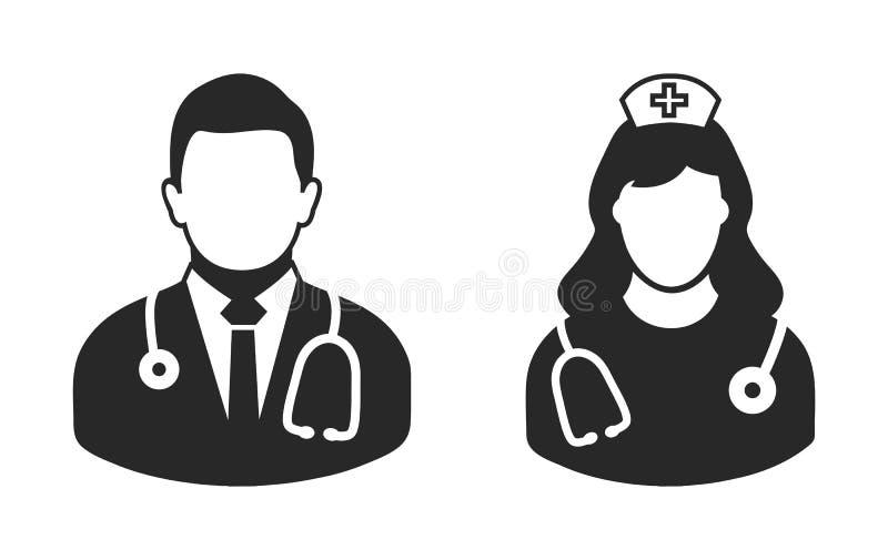Manlig doktors- och sjuksköterskasymbol royaltyfri illustrationer