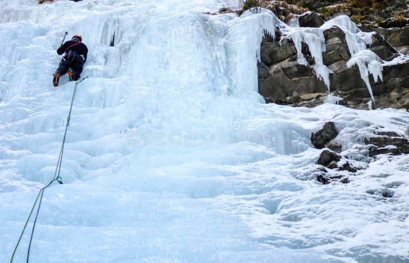 Manlig is för berghandbokledning som klättrar en djupfryst vattenfall i djup vinter i fjällängarna av Schweiz royaltyfria foton