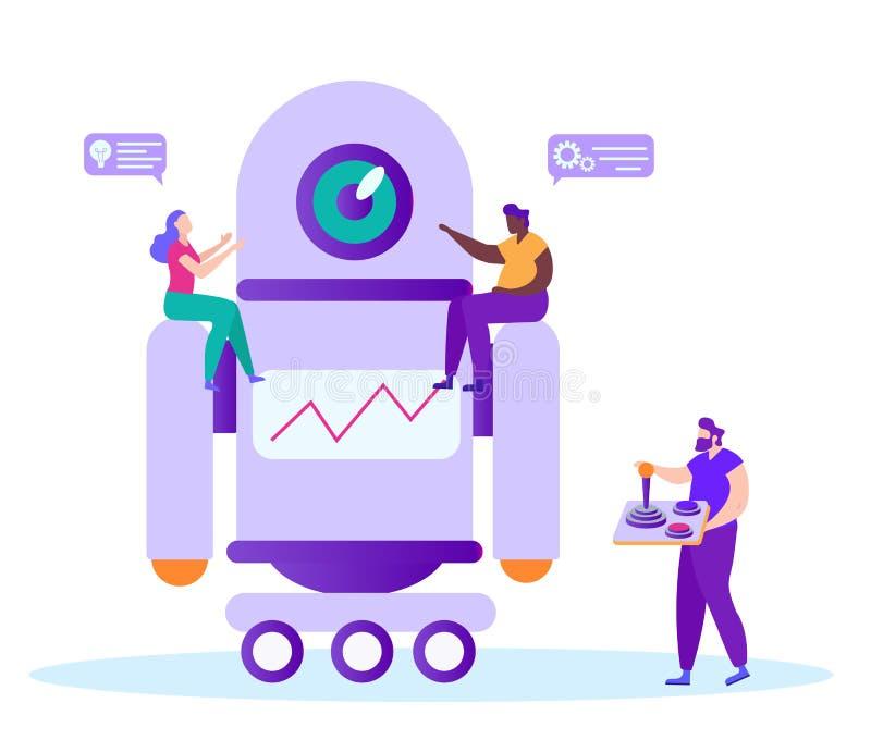 Manlig fjärrkontroll i hand Teamwork med Robot stock illustrationer