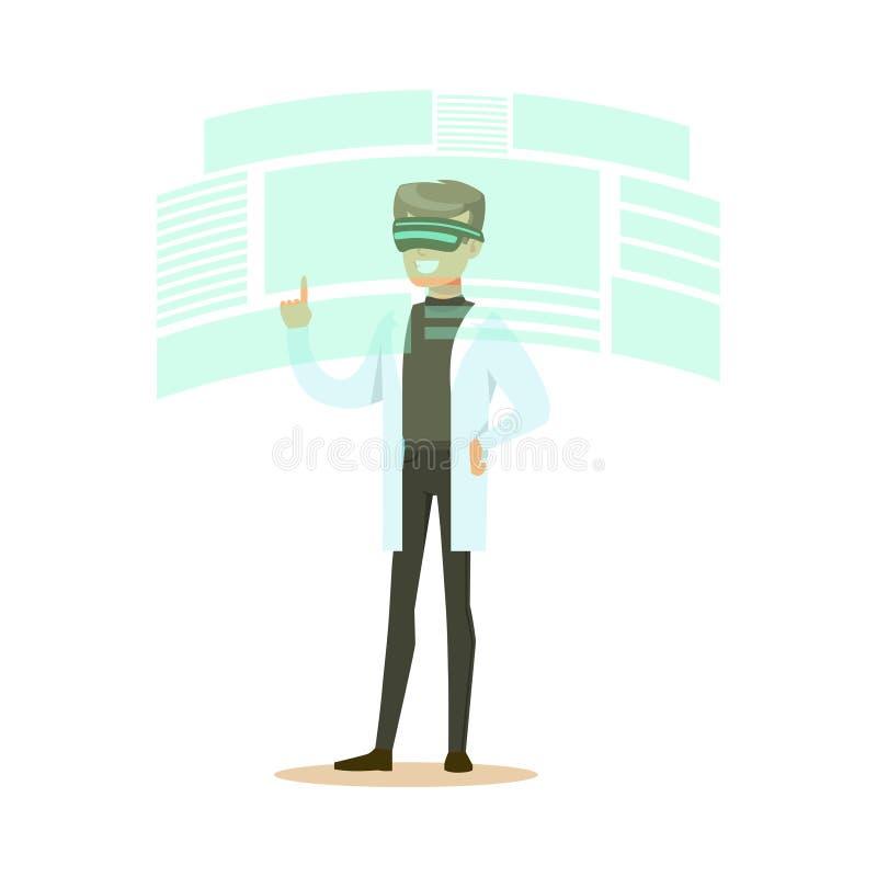 Manlig forskare som bär VR-hörlurar med mikrofon som arbetar i digital simulering, framtida illustration för teknologibegreppsvek stock illustrationer