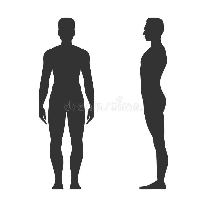 Manlig full längdsvartkontur stock illustrationer
