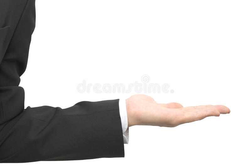 Manlig hand för abstrakt closeupaffär, i att framlägga gest royaltyfri fotografi