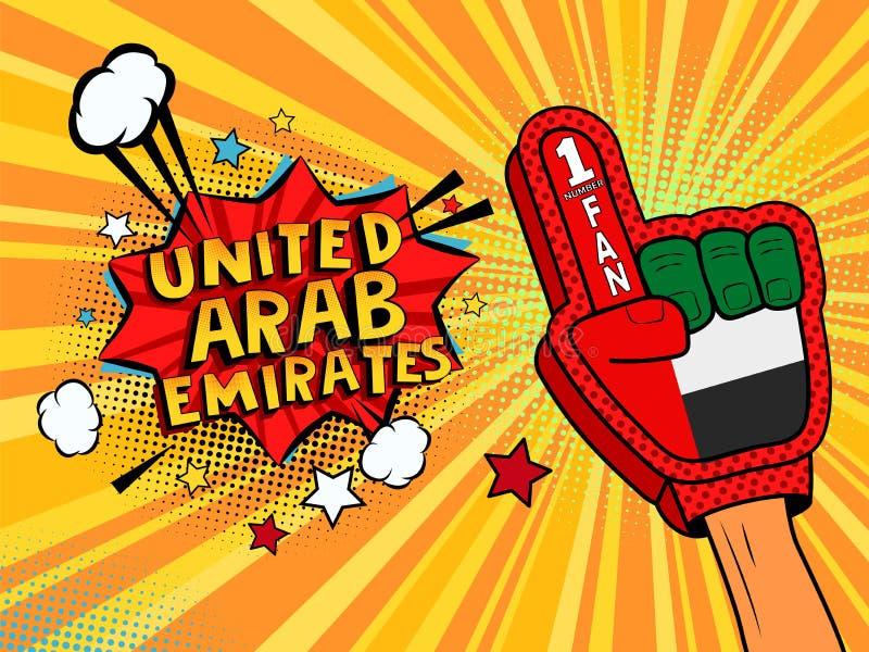 Manlig hand för sportfan i handsken som lyfts upp att fira seger av den Förenade Arabemiraten anförandebubblan med stjärnor och m royaltyfri illustrationer