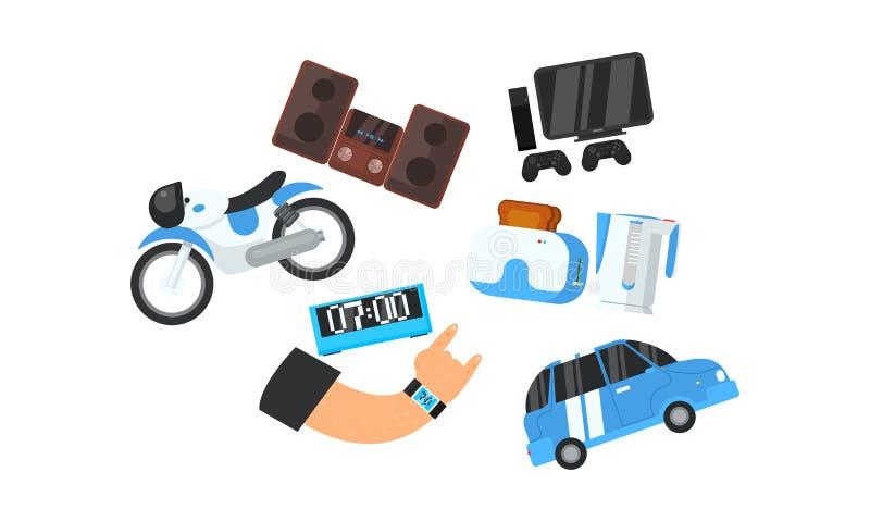 Manlig hand och hans elektroniska grejer, apparater, hem- anordningar, transportvektorillustration stock illustrationer