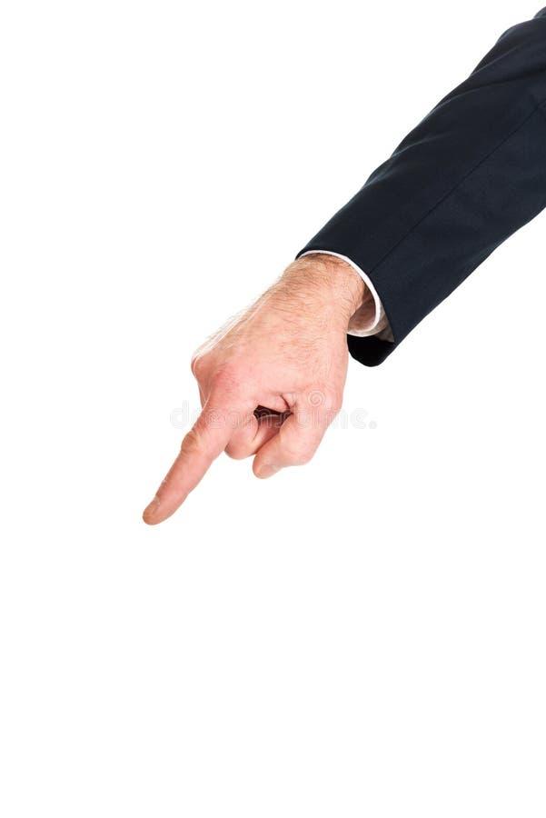 Manlig hand som ner pekar fotografering för bildbyråer
