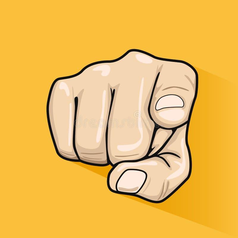 Manlig hand som pekar fingret på dig över gul bakgrund stock illustrationer