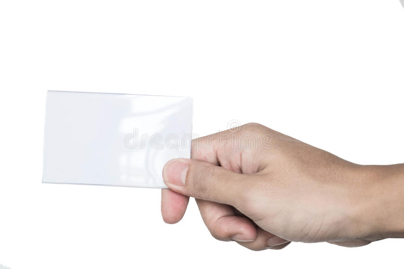 Manlig hand som rymmer det skinande tomma kortet royaltyfri fotografi